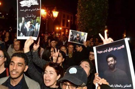 Manifestation en soutien au journaliste marocain Omar Radi lors d'une précédente arrestation en décembre 2019 à Rabat. (Image d'illustration) STR / AFP
