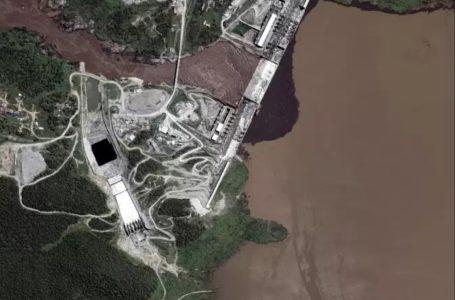 Photographie aérienne prise le 21 juillet 2020 qui montre la mise en eau du Grand Barrage de la renaissance, ouvrage en cours de finalisation par l'Ethiopiesur le Nil. AFP