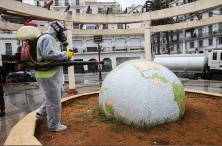 Un travailleur portant une combinaison de protection désinfecte un jardin public en forme de globe, à la suite de l'épidémie de coronavirus (COVID-19), à Alger, Algérie, le 23 mars 2020. REUTERS / Ramzi Boudina