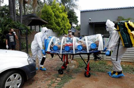 Des agents de santé transportent un patient présentant des symptômes du Covid-19, à Pretoria, le 15 janvier 2021. PHILL MAGAKOE / AFP