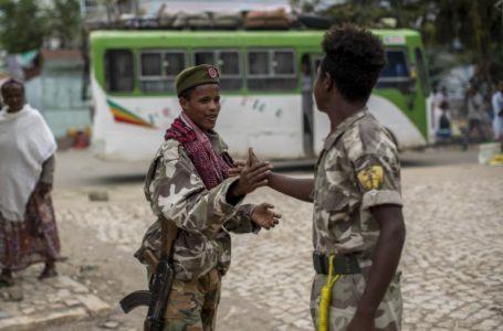 Les forces rebelles ont lancé une nouvelle offensive dans la région éthiopienne du Tigré et affirment avoir pris le contrôle de la ville d'Alamata dans le sud du Tigré. Ici, sur ce cliché du 7 mai 2021 des soldats du Front de libération du peuple du Tigré se félicitent après la capture de la ville de Hawzen. . AP/ BEN CURTIS